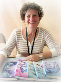 Liz Kessler pic with books USA